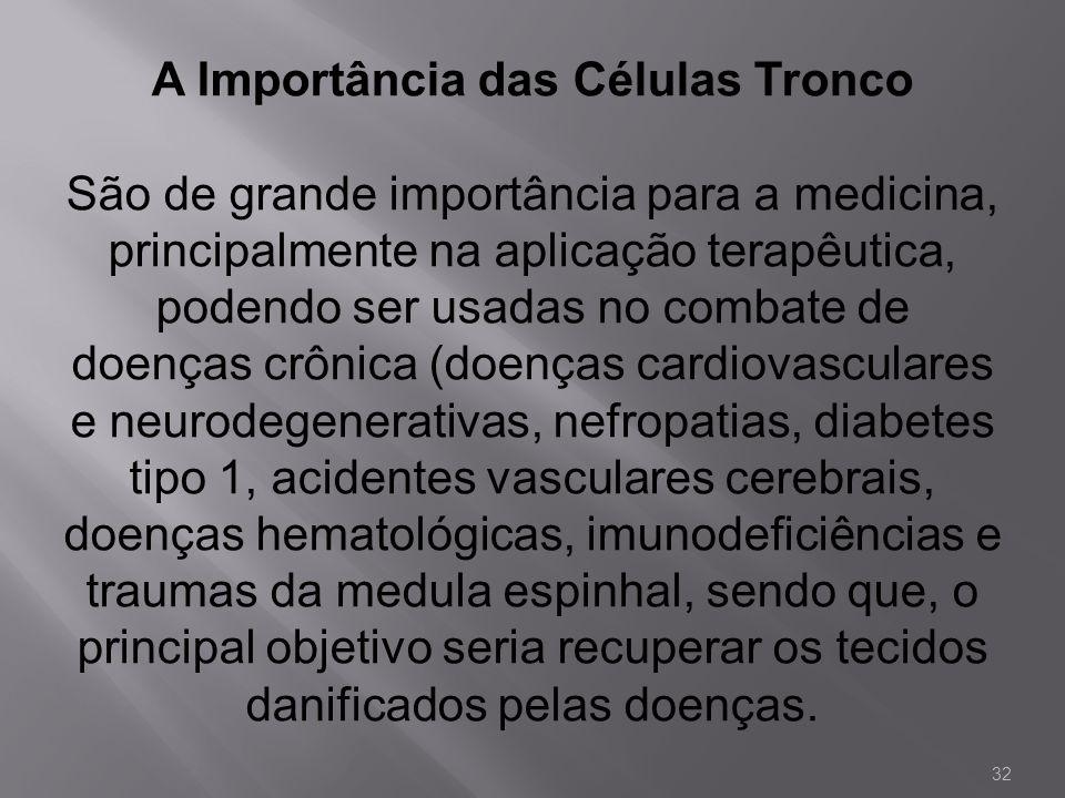 A Importância das Células Tronco São de grande importância para a medicina, principalmente na aplicação terapêutica, podendo ser usadas no combate de