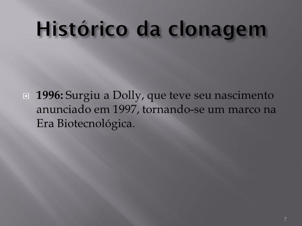 1996: Surgiu a Dolly, que teve seu nascimento anunciado em 1997, tornando-se um marco na Era Biotecnológica. 7