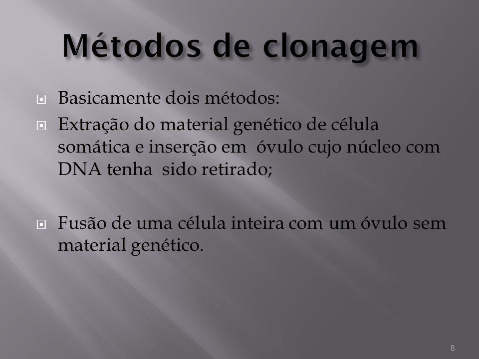 Basicamente dois métodos: Extração do material genético de célula somática e inserção em óvulo cujo núcleo com DNA tenha sido retirado; Fusão de uma c