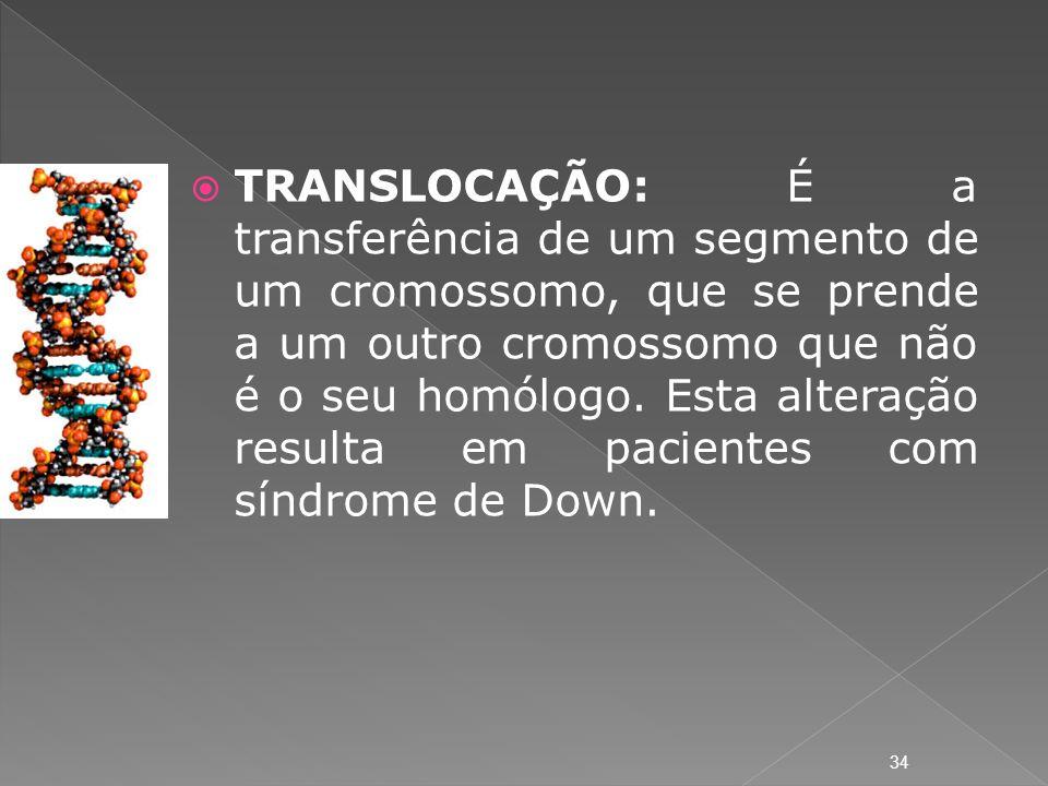 TRANSLOCAÇÃO: É a transferência de um segmento de um cromossomo, que se prende a um outro cromossomo que não é o seu homólogo. Esta alteração resulta