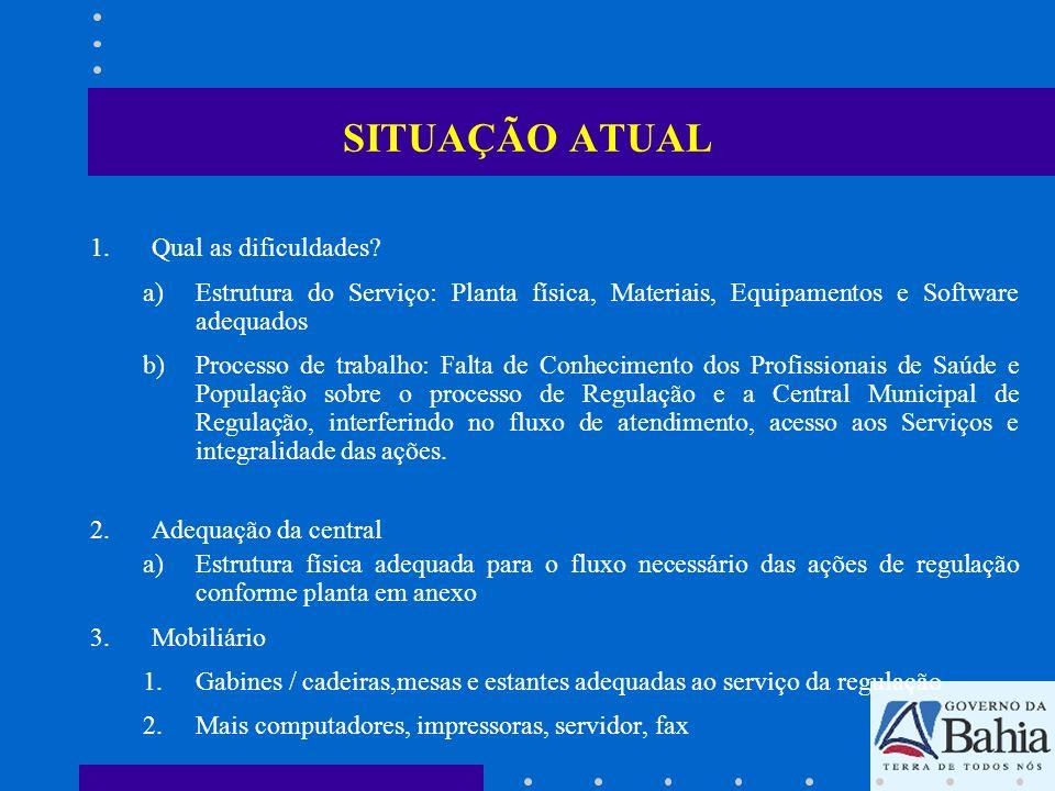 SITUAÇÃO ATUAL 1.Qual as dificuldades? a)Estrutura do Serviço: Planta física, Materiais, Equipamentos e Software adequados b)Processo de trabalho: Fal