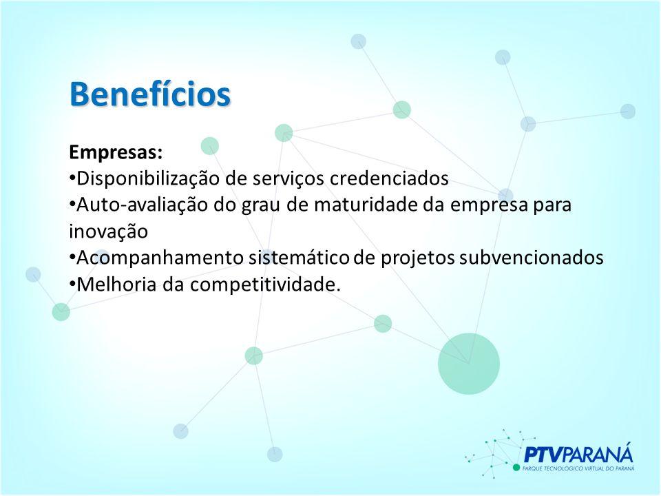 Benefícios Empresas: Disponibilização de serviços credenciados Auto-avaliação do grau de maturidade da empresa para inovação Acompanhamento sistemátic