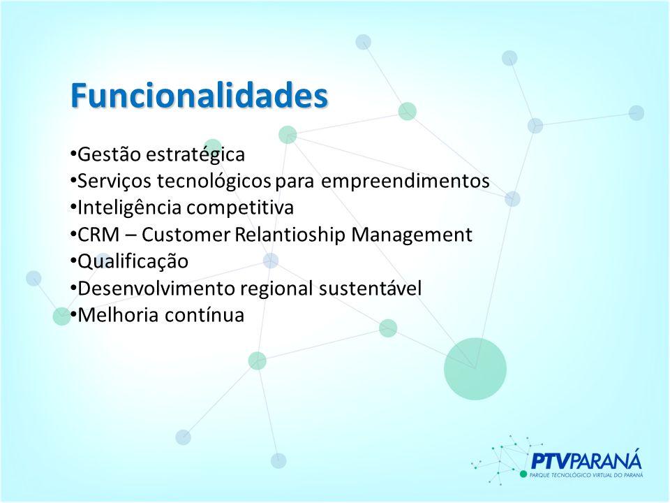 Funcionalidades Gestão estratégica Serviços tecnológicos para empreendimentos Inteligência competitiva CRM – Customer Relantioship Management Qualific