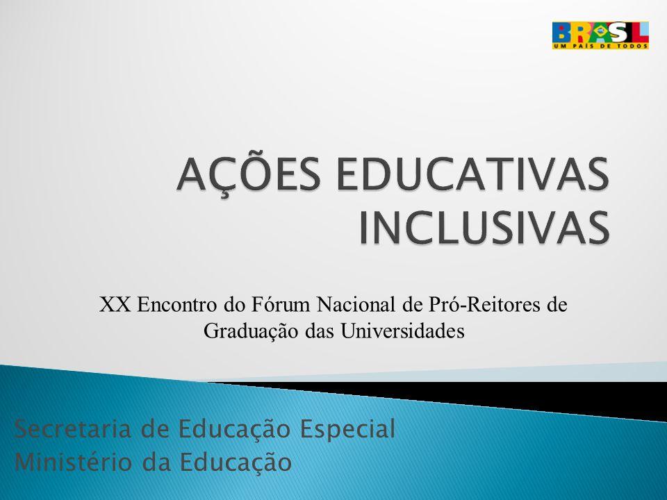 Secretaria de Educação Especial Ministério da Educação XX Encontro do Fórum Nacional de Pró-Reitores de Graduação das Universidades