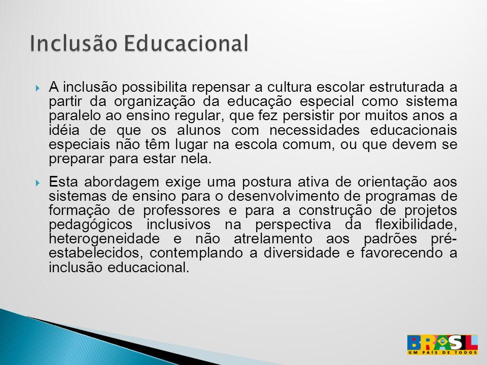 A inclusão possibilita repensar a cultura escolar estruturada a partir da organização da educação especial como sistema paralelo ao ensino regular, qu