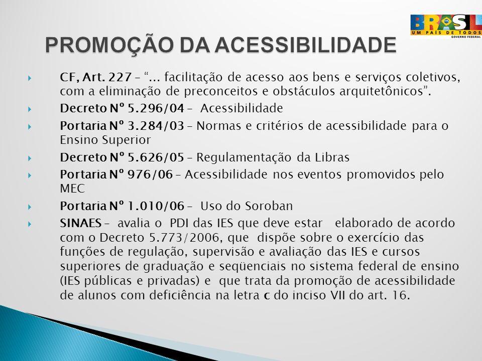 CF, Art. 227 –... facilitação de acesso aos bens e serviços coletivos, com a eliminação de preconceitos e obstáculos arquitetônicos. Decreto Nº 5.296/