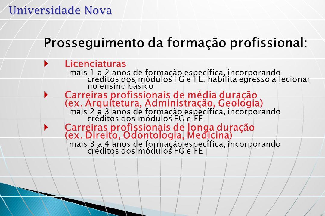 Universidade Nova Prosseguimento da formação profissional: Licenciaturas mais 1 a 2 anos de formação específica, incorporando créditos dos módulos FG