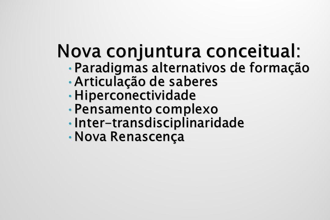 Nova conjuntura conceitual: Nova conjuntura conceitual: Paradigmas alternativos de formaçãoParadigmas alternativos de formação Articulação de saberesA