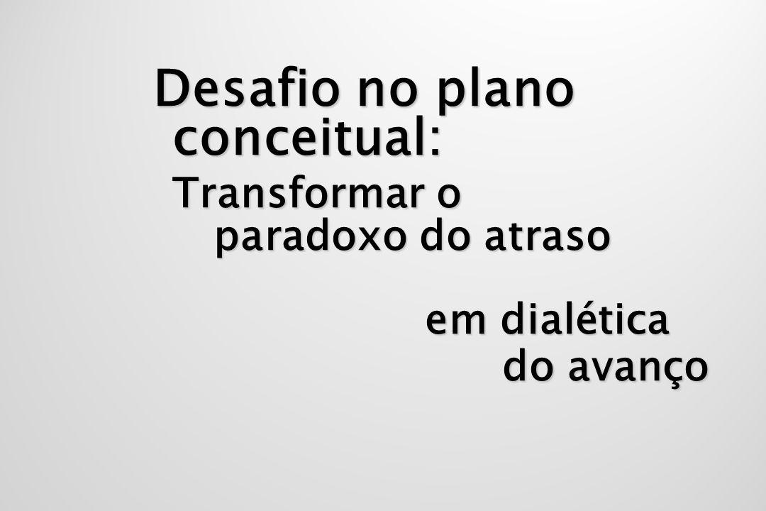Desafio no plano conceitual: Transformar o paradoxo do atraso em dialética do avanço em dialética do avanço