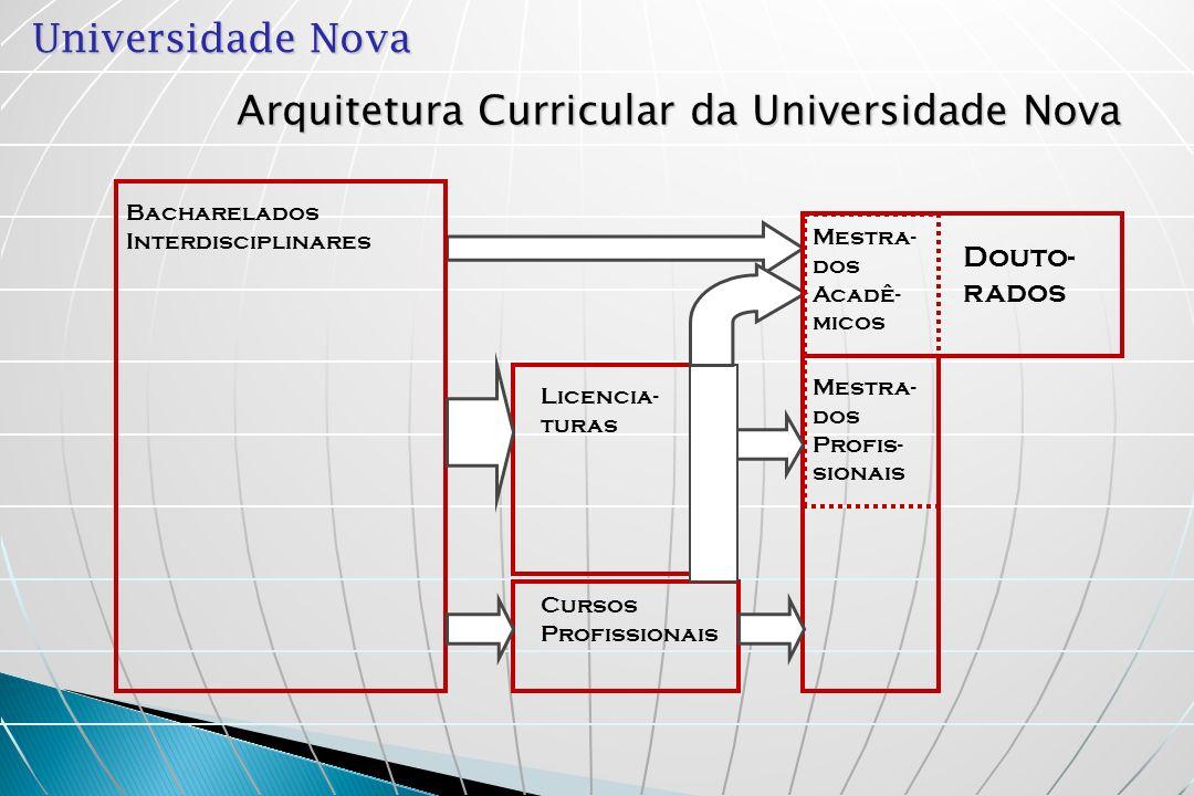 Universidade Nova Bacharelado Interdisciplinar (BI): Curso de formação universitária interdisciplinar, geral e propedêutica Duração: 6 semestres (9 quadrimestres) Requisito para: a) formação profissional de graduação b) formação científica ou artística de pós- graduação.