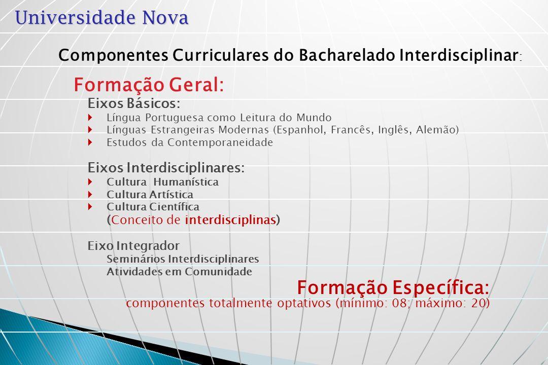 Universidade Nova Estrutura Curricular dos Bacharelados Interdisciplinares CH Cultura Humanística Ano I EB1- Língua Portuguesa – 3 blocos semestrais EB2- Língua Estrangeira Moderna – 4 blocos Ano IIAno III Eixo Integrador (Seminários Interdisciplinares; ACC) FE1* FE2 * FE3 EB3- Estudos da Contemporaneidade – 3 blocos FE10 FE9 FE13 FE11 FE17 FE15 FE16 FE8 FE12 FE18 FE20 FE19 CA Cultura Artística CC Cultura Científica Cursos de Tecnólogo * Componentes curriculares de orientação profissional FE6 FE4 FE5 FE7