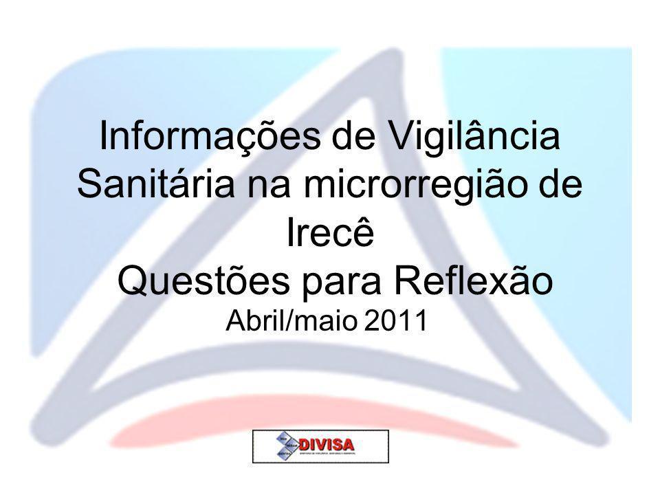 Informações de Vigilância Sanitária na microrregião de Irecê Questões para Reflexão Abril/maio 2011