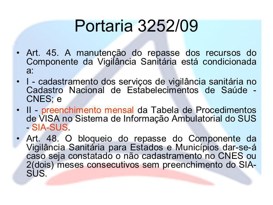 Portaria 3252/09 Art. 45. A manutenção do repasse dos recursos do Componente da Vigilância Sanitária está condicionada a: I - cadastramento dos serviç