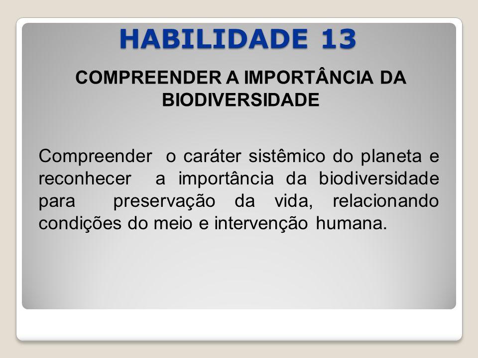 HABILIDADE 13 COMPREENDER A IMPORTÂNCIA DA BIODIVERSIDADE Compreender o caráter sistêmico do planeta e reconhecer a importância da biodiversidade para preservação da vida, relacionando condições do meio e intervenção humana.