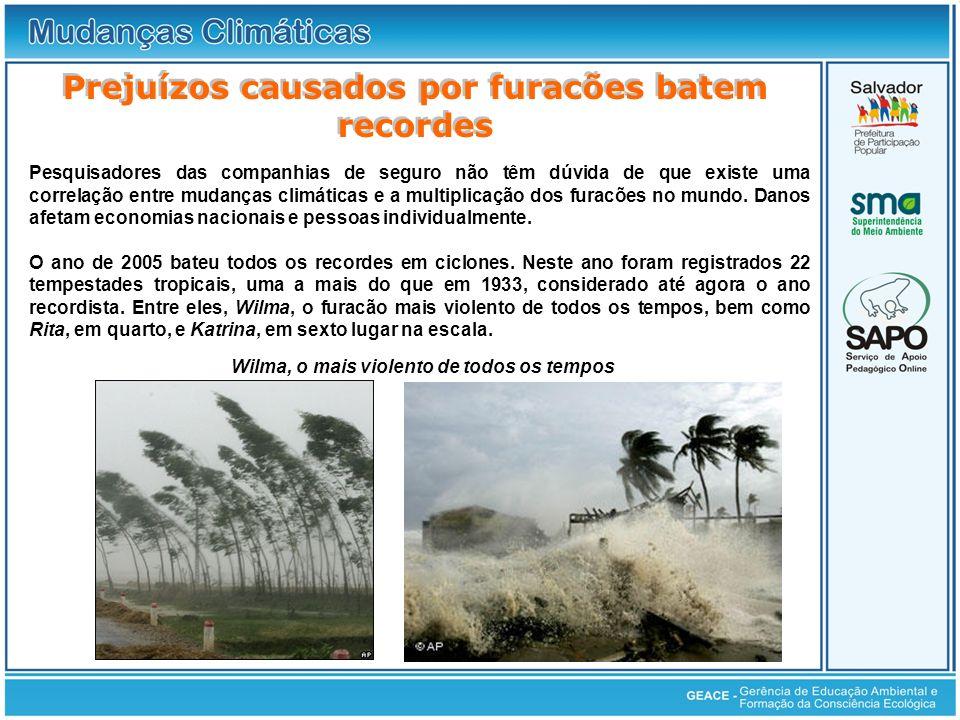 Prejuízos causados por furacões batem recordes Pesquisadores das companhias de seguro não têm dúvida de que existe uma correlação entre mudanças climá