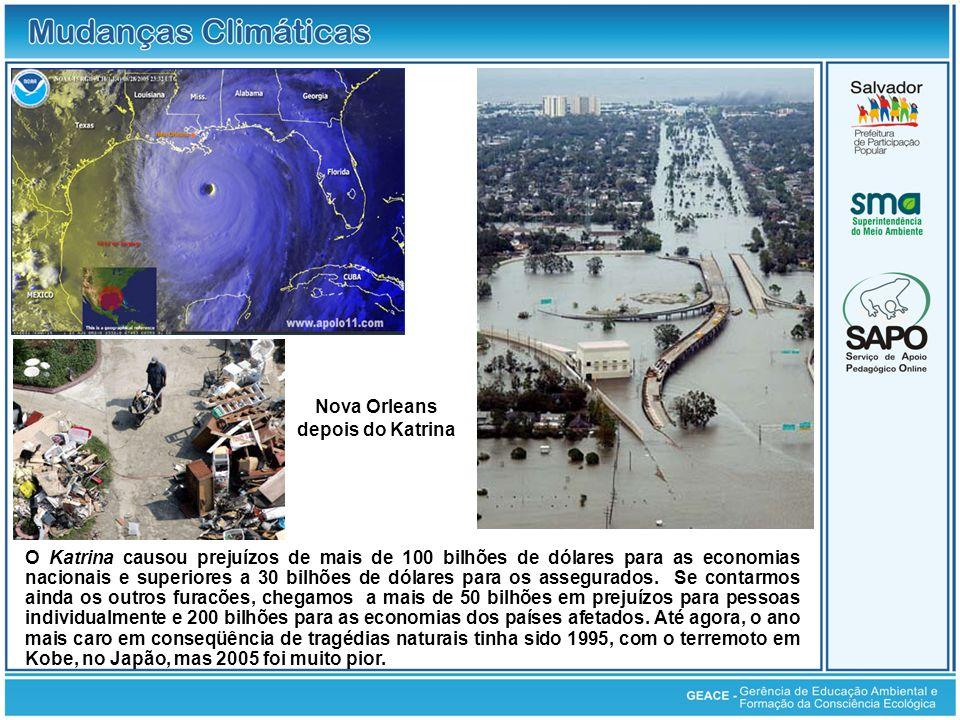 O Katrina causou prejuízos de mais de 100 bilhões de dólares para as economias nacionais e superiores a 30 bilhões de dólares para os assegurados. Se