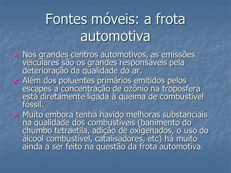 Fontes móveis: a frota automotiva ë Nos grandes centros automotivos, as emissões veiculares são os grandes responsáveis pela deterioração da qualidade