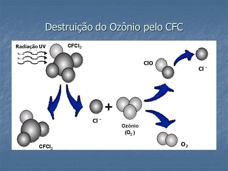 Destruição do Ozônio pelo CFC Radiação UV Cl - ClO Ozônio Cl - O2O2