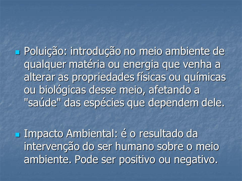Poluição: introdução no meio ambiente de qualquer matéria ou energia que venha a alterar as propriedades físicas ou químicas ou biológicas desse meio,