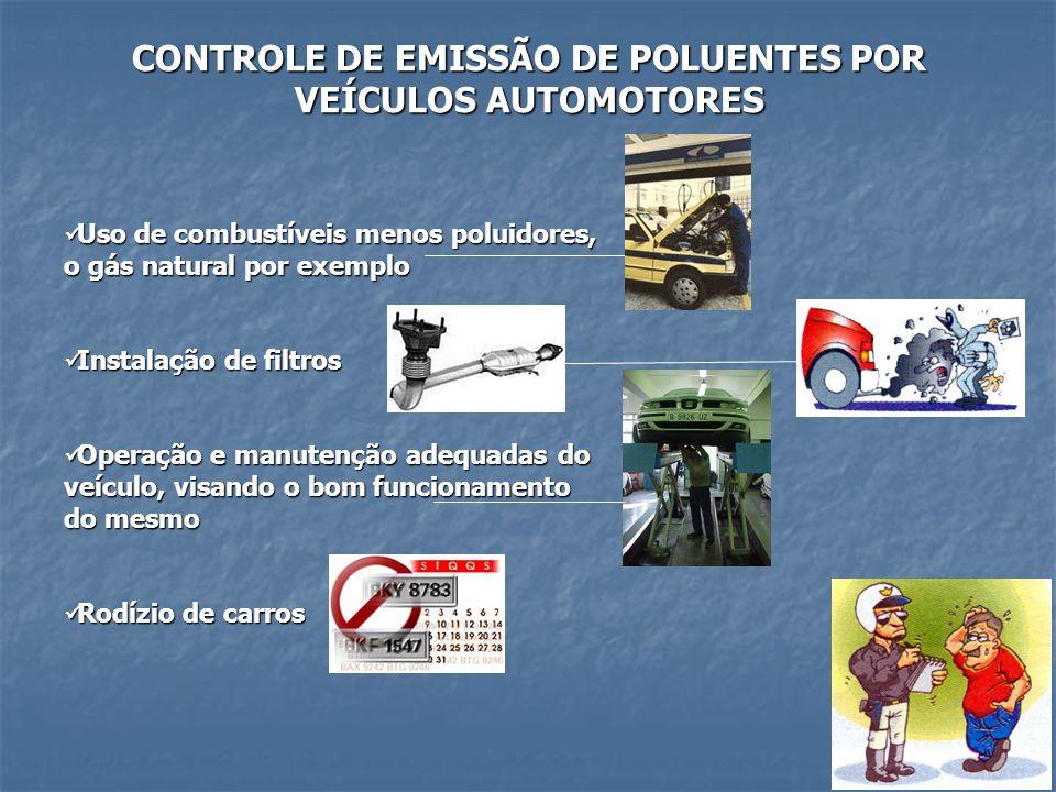 CONTROLE DE EMISSÃO DE POLUENTES POR VEÍCULOS AUTOMOTORES Uso de combustíveis menos poluidores, o gás natural por exemplo Uso de combustíveis menos po