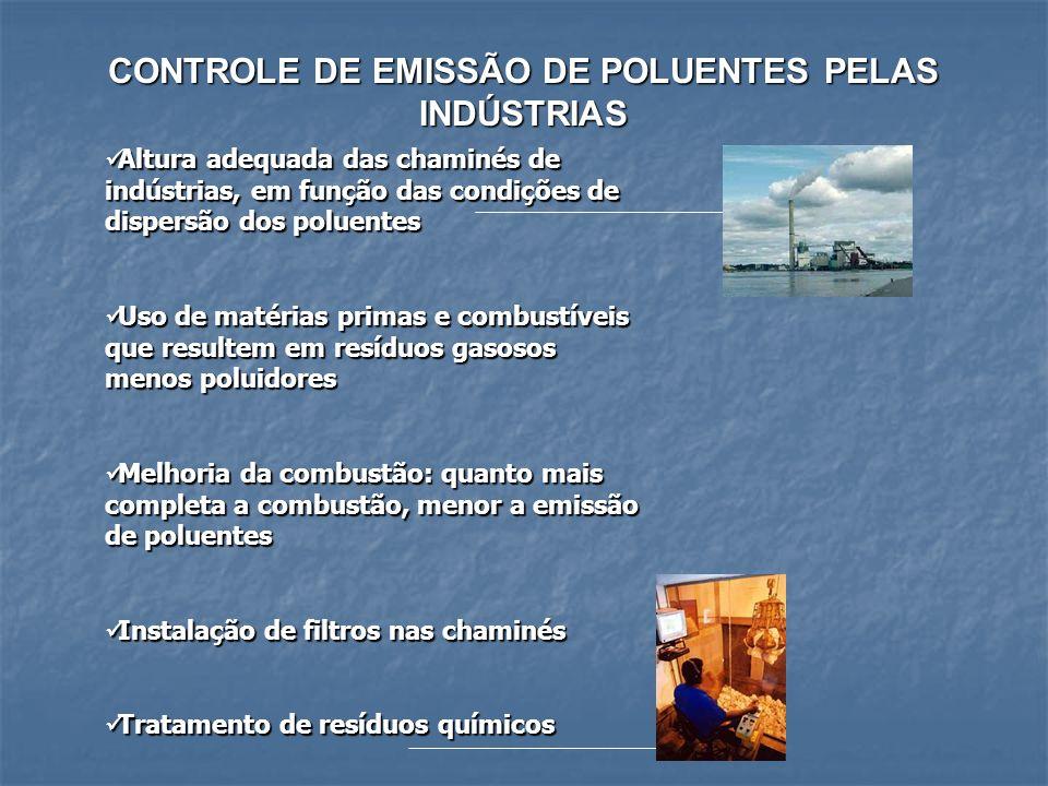 CONTROLE DE EMISSÃO DE POLUENTES PELAS INDÚSTRIAS Altura adequada das chaminés de indústrias, em função das condições de dispersão dos poluentes Altur