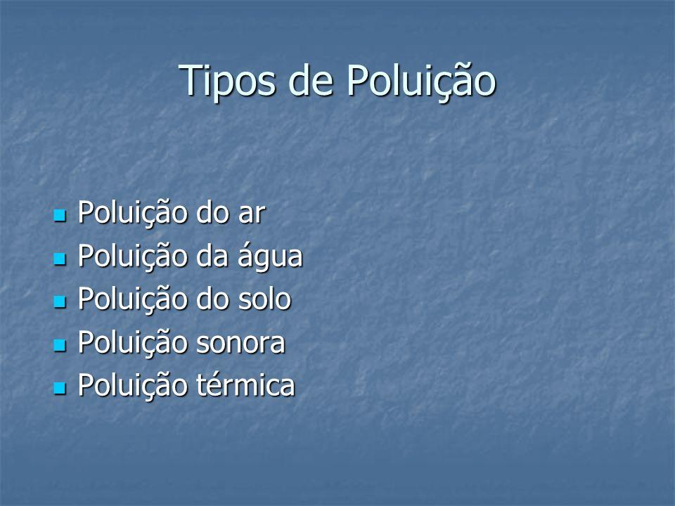 Tipos de Poluição Poluição do ar Poluição do ar Poluição da água Poluição da água Poluição do solo Poluição do solo Poluição sonora Poluição sonora Po
