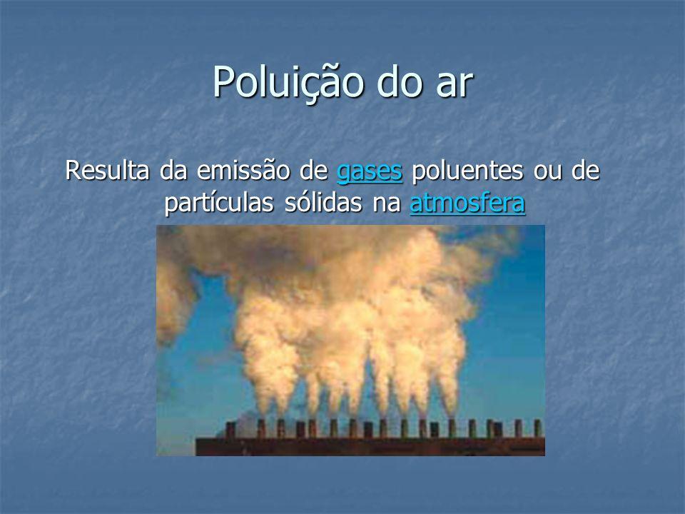 Poluição do ar Resulta da emissão de gases poluentes ou de partículas sólidas na atmosfera gasesatmosferagasesatmosfera