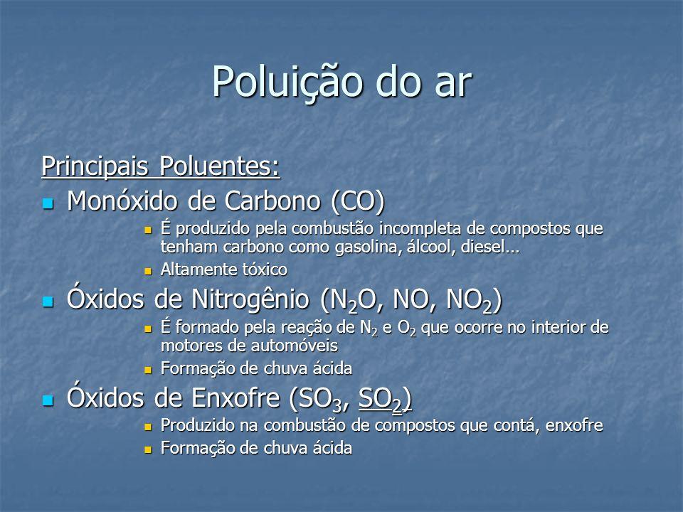 Poluição da água Principais poluentes: Principais poluentes: Esgoto doméstico: Esgoto doméstico: - contaminação por bactérias patogênicas: ligado a higiene (esgotos sem tratamento) - contaminação por substâncias orgânicas: detergentes.