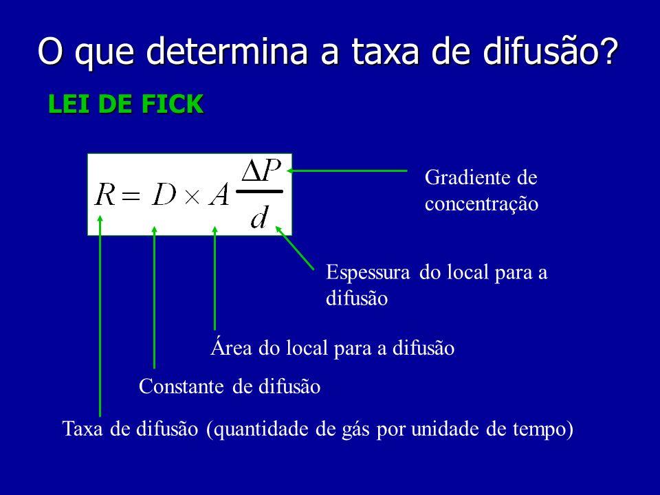 LEI DE FICK Taxa de difusão (quantidade de gás por unidade de tempo) Constante de difusão Área do local para a difusão Gradiente de concentração Espes