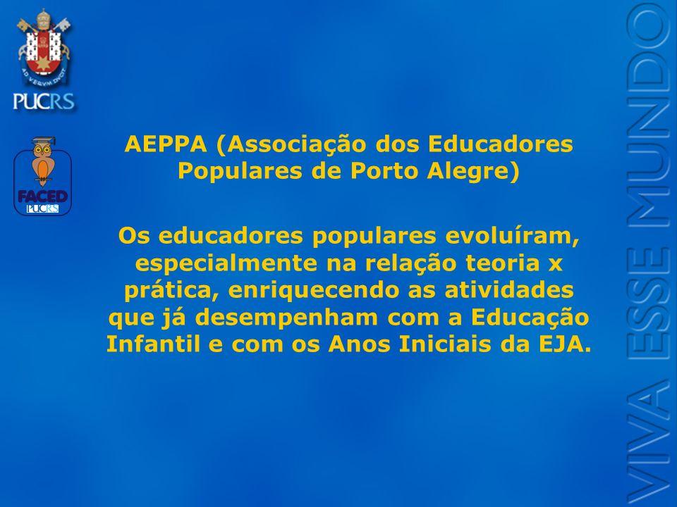Logo do Setor AEPPA (Associação dos Educadores Populares de Porto Alegre) Os educadores populares evoluíram, especialmente na relação teoria x prática