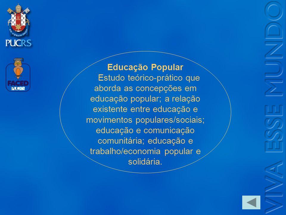 Logo do Setor Educação Popular Estudo teórico-prático que aborda as concepções em educação popular; a relação existente entre educação e movimentos po