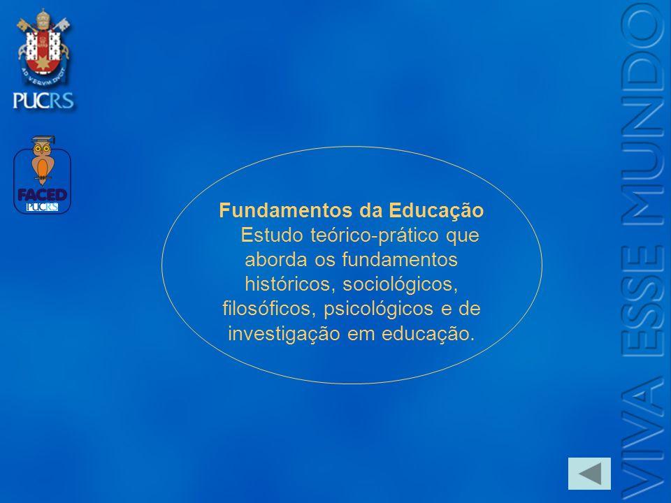 Logo do Setor Fundamentos da Educação Estudo teórico-prático que aborda os fundamentos históricos, sociológicos, filosóficos, psicológicos e de invest