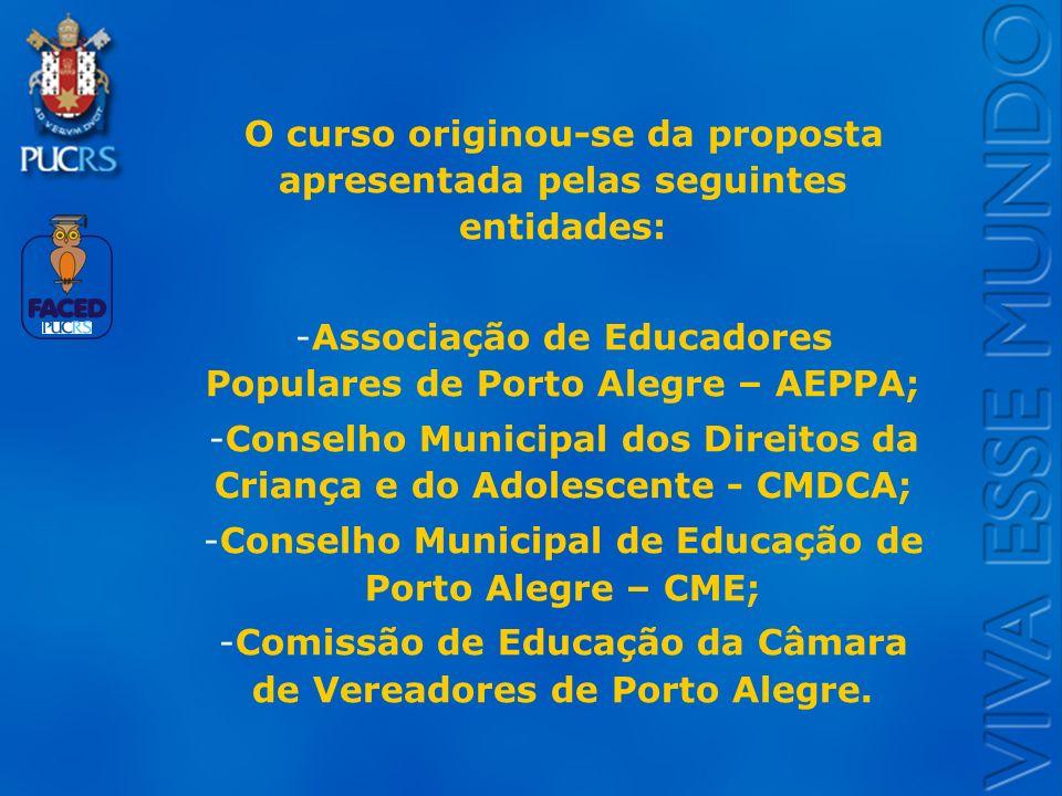 Logo do Setor O curso originou-se da proposta apresentada pelas seguintes entidades: -Associação de Educadores Populares de Porto Alegre – AEPPA; -Con
