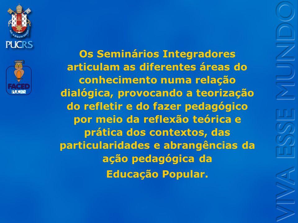 Logo do Setor Os Seminários Integradores articulam as diferentes áreas do conhecimento numa relação dialógica, provocando a teorização do refletir e d