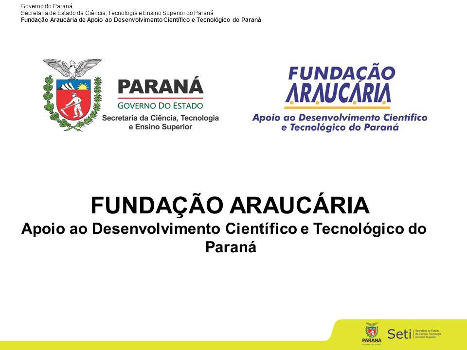 Governo do Paraná Secretaria de Estado da Ciência, Tecnologia e Ensino Superior do Paraná Fundação Araucária de Apoio ao Desenvolvimento Científico e Tecnológico do Paraná Pesquisadores por milhão de habitantes Baseado em dados do UNESCO Report, 2010 2002 2007