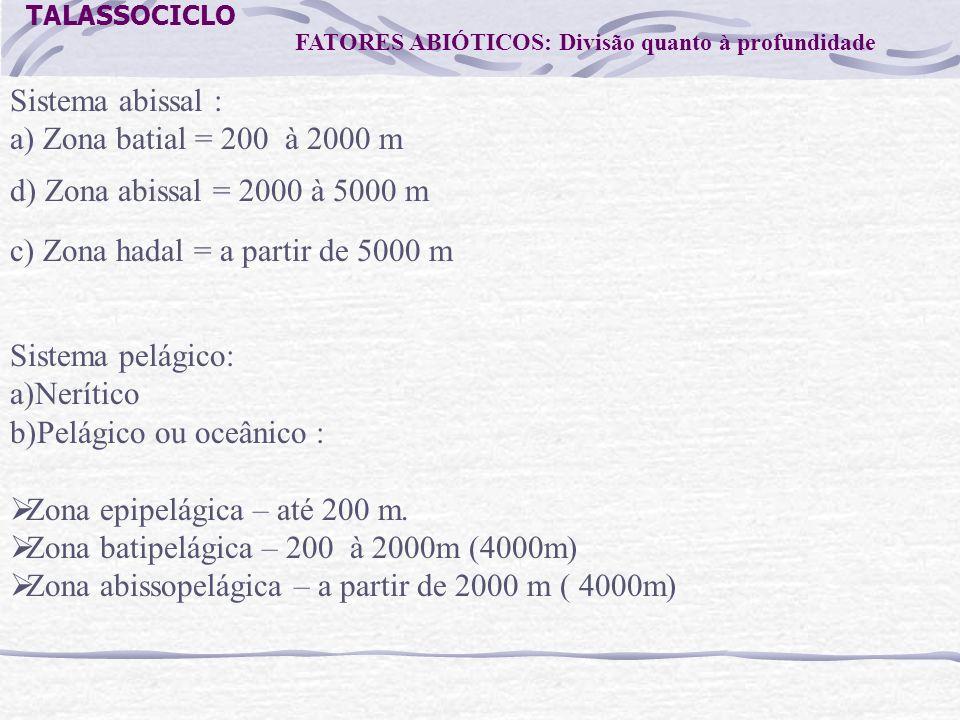 TALASSOCICLO FATORES ABIÓTICOS: Divisão quanto à profundidade Sistema abissal : a) Zona batial = 200 à 2000 m c) Zona hadal = a partir de 5000 m d) Zo