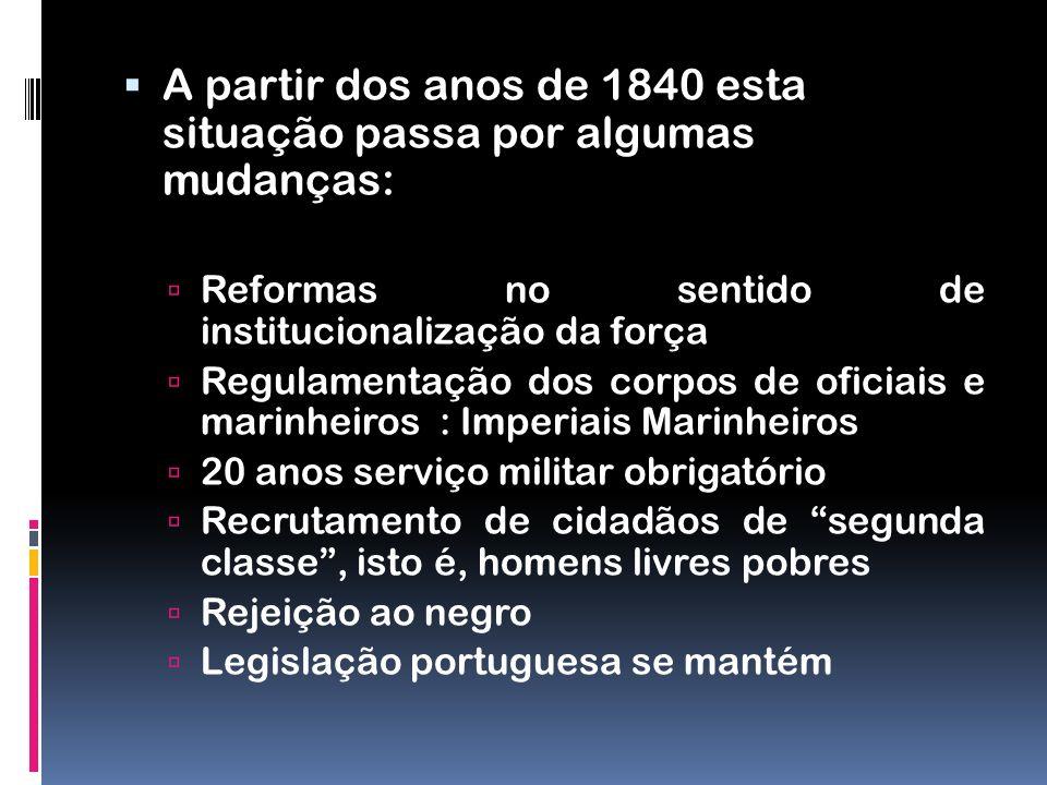 A partir dos anos de 1840 esta situação passa por algumas mudanças: Reformas no sentido de institucionalização da força Regulamentação dos corpos de o