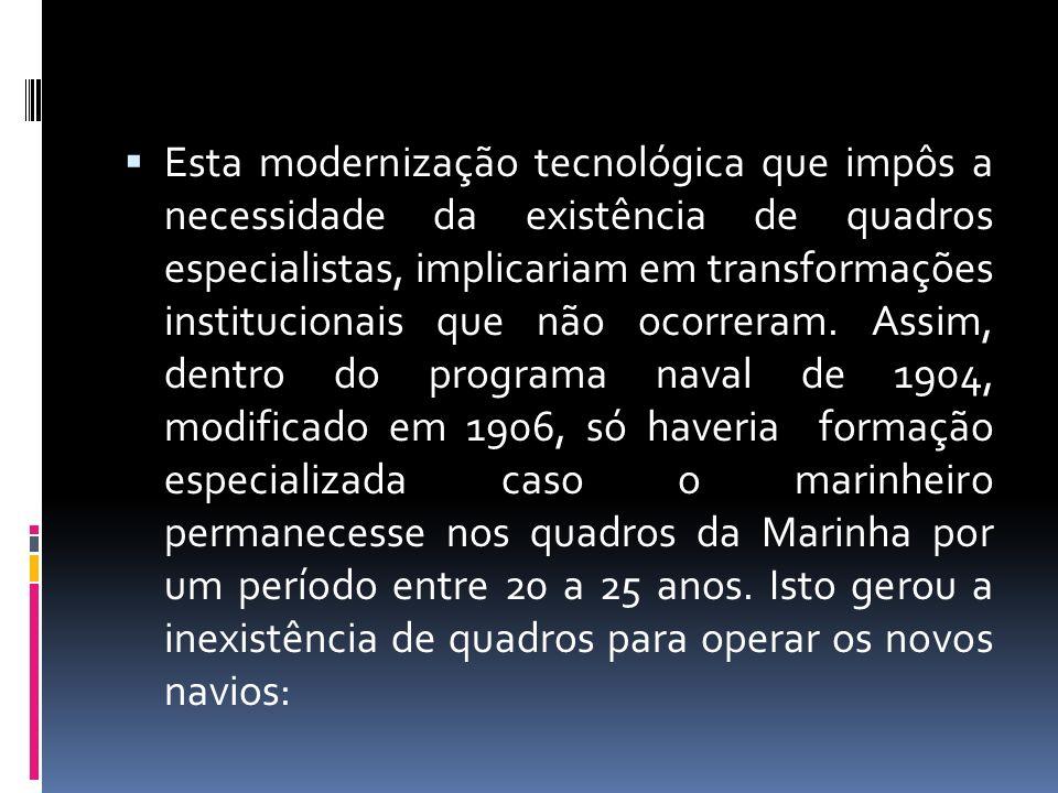 Esta modernização tecnológica que impôs a necessidade da existência de quadros especialistas, implicariam em transformações institucionais que não oco