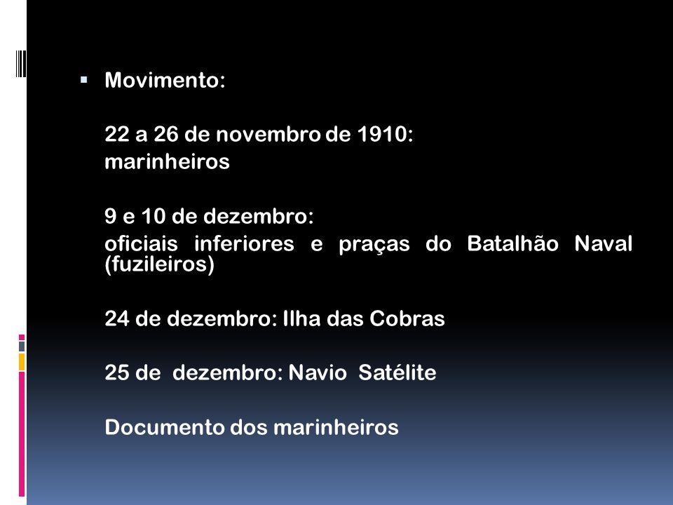 Movimento: 22 a 26 de novembro de 1910: marinheiros 9 e 10 de dezembro: oficiais inferiores e praças do Batalhão Naval (fuzileiros) 24 de dezembro: Il