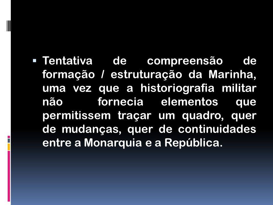Tentativa de compreensão de formação / estruturação da Marinha, uma vez que a historiografia militar não fornecia elementos que permitissem traçar um
