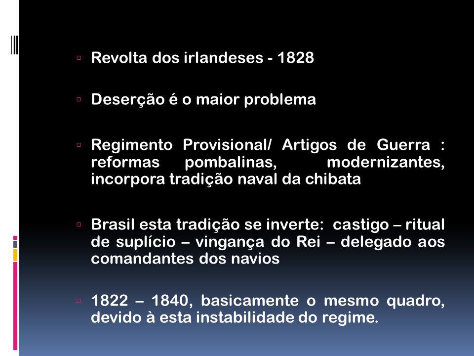 Revolta dos irlandeses - 1828 Deserção é o maior problema Regimento Provisional/ Artigos de Guerra : reformas pombalinas, modernizantes, incorpora tra