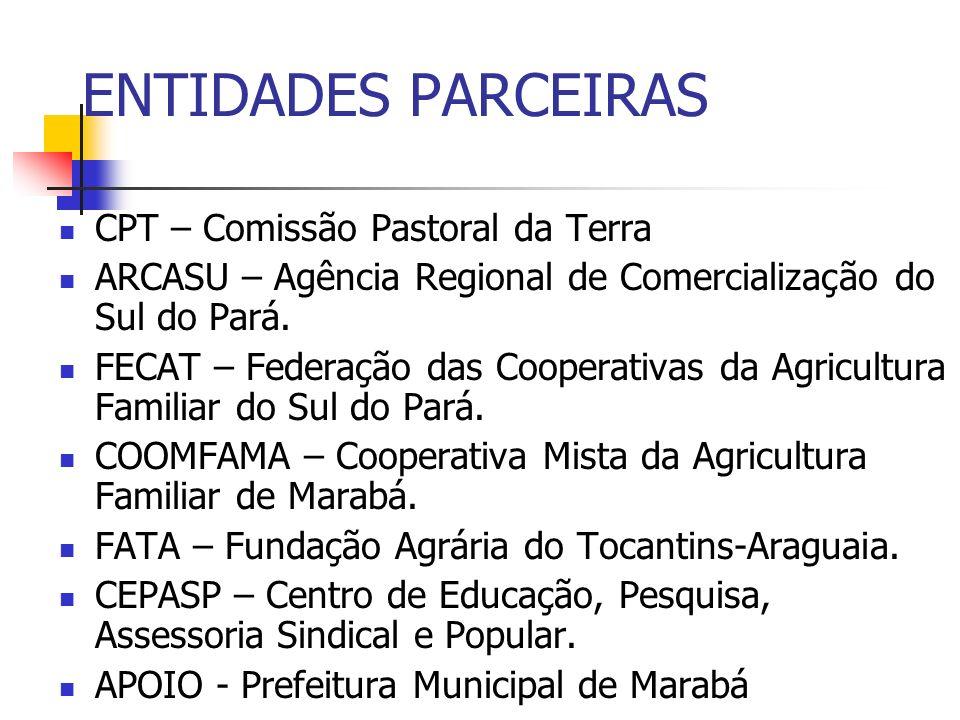 ENTIDADES PARCEIRAS CPT – Comissão Pastoral da Terra ARCASU – Agência Regional de Comercialização do Sul do Pará. FECAT – Federação das Cooperativas d