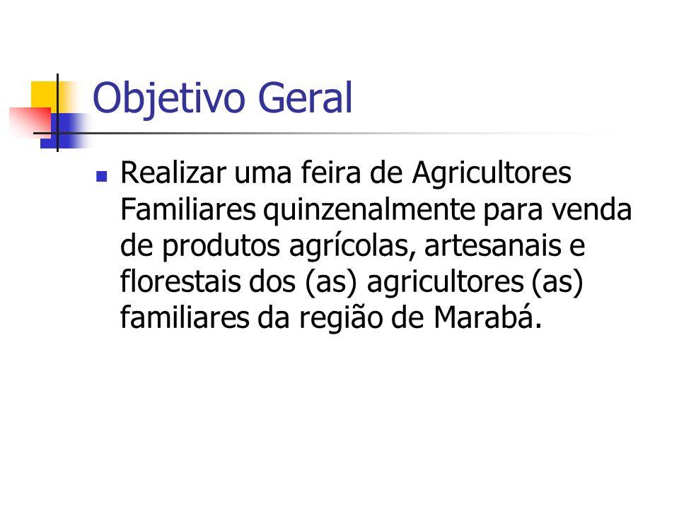 Objetivo Geral Realizar uma feira de Agricultores Familiares quinzenalmente para venda de produtos agrícolas, artesanais e florestais dos (as) agricul