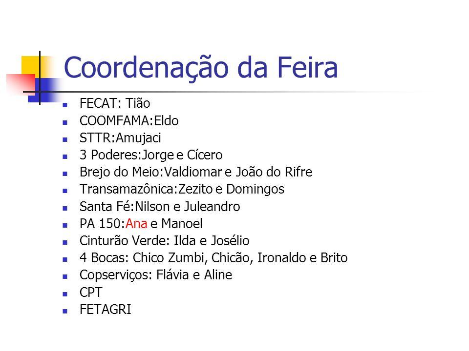 Coordenação da Feira FECAT: Tião COOMFAMA:Eldo STTR:Amujaci 3 Poderes:Jorge e Cícero Brejo do Meio:Valdiomar e João do Rifre Transamazônica:Zezito e D