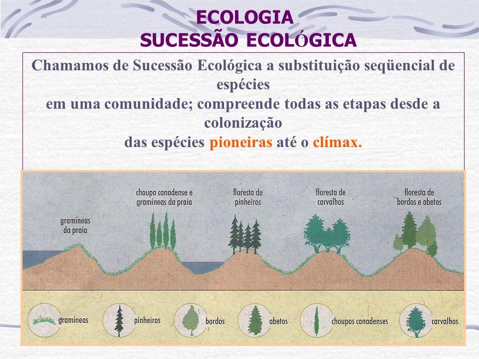 ECOLOGIA SUCESSÃO ECOL Ó GICA Chamamos de Sucessão Ecológica a substituição seqüencial de espécies em uma comunidade; compreende todas as etapas desde