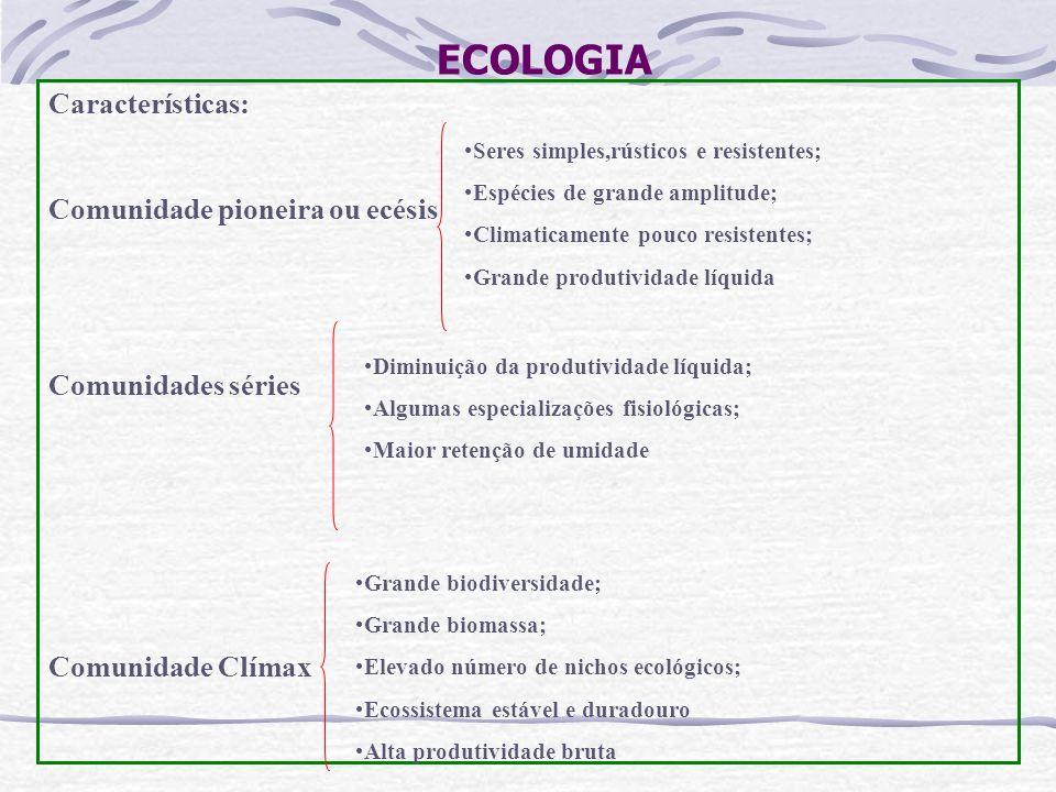 ECOLOGIA Características: Comunidade pioneira ou ecésis Comunidades séries Comunidade Clímax Seres simples,rústicos e resistentes; Espécies de grande