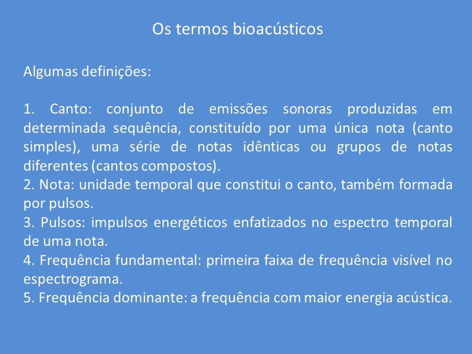 Os termos bioacústicos Algumas definições: 1. Canto: conjunto de emissões sonoras produzidas em determinada sequência, constituído por uma única nota