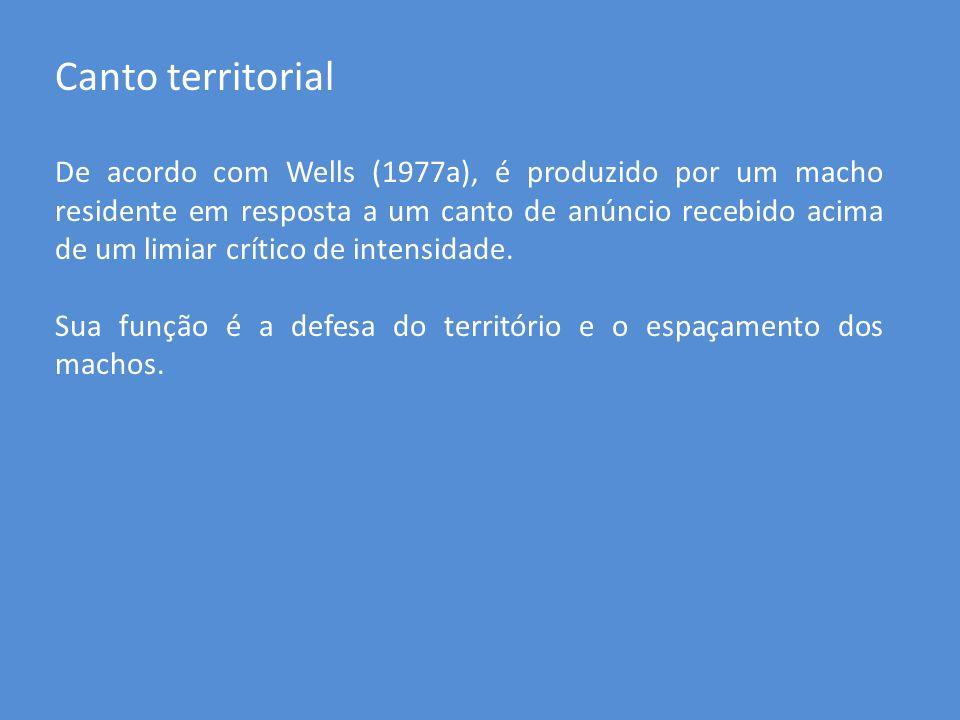 Canto territorial De acordo com Wells (1977a), é produzido por um macho residente em resposta a um canto de anúncio recebido acima de um limiar crític