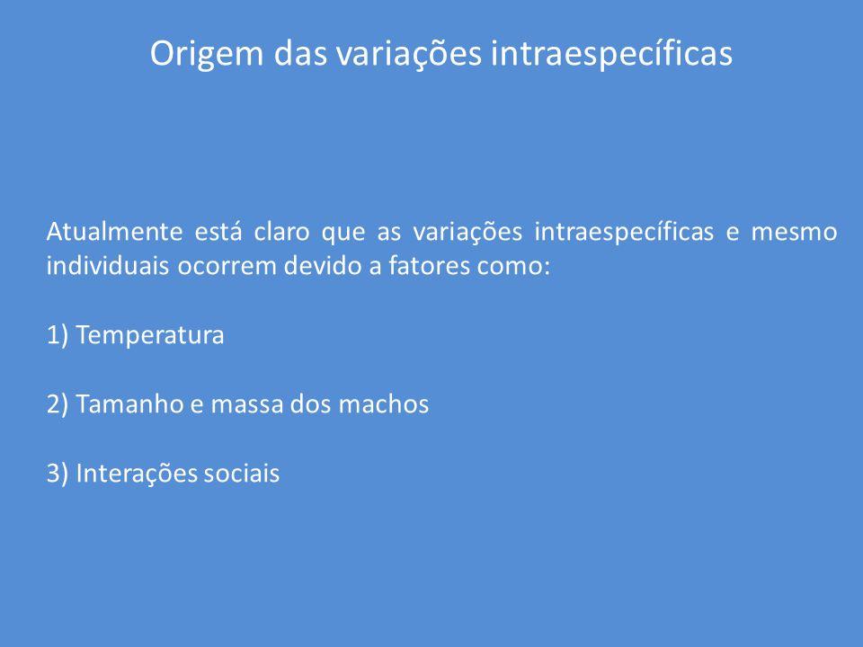 Origem das variações intraespecíficas Atualmente está claro que as variações intraespecíficas e mesmo individuais ocorrem devido a fatores como: 1) Te