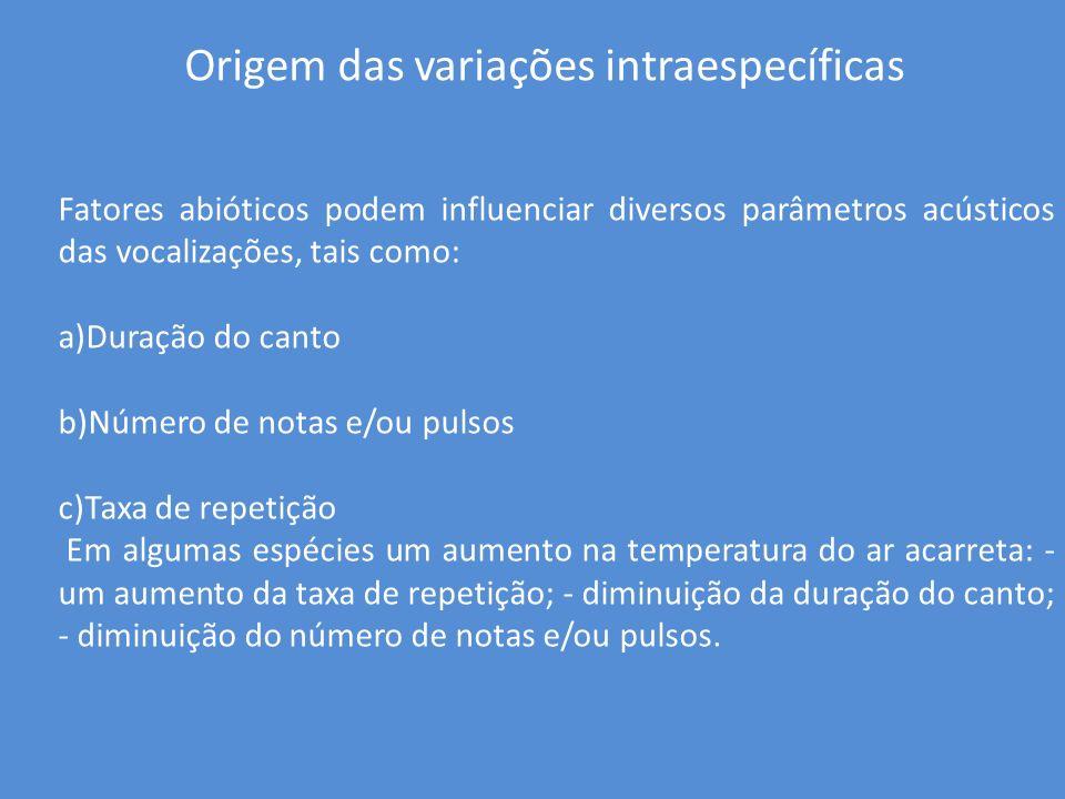 Origem das variações intraespecíficas Fatores abióticos podem influenciar diversos parâmetros acústicos das vocalizações, tais como: a)Duração do cant